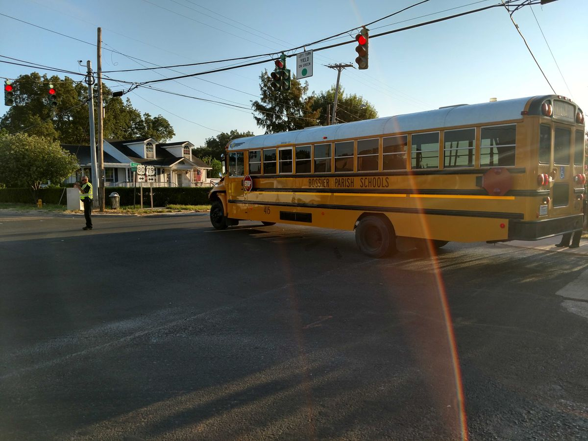 Empty Bossier school bus involved in crash; busy road closed