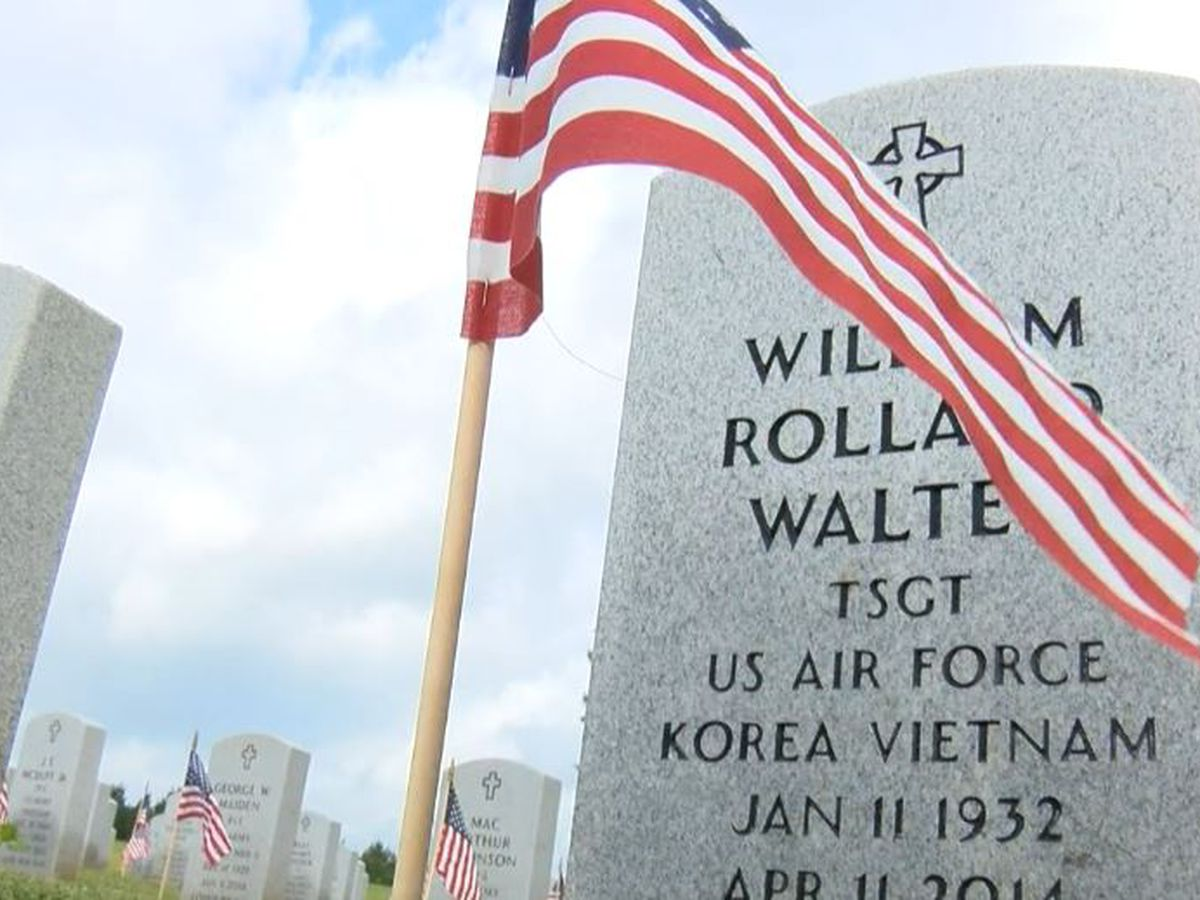 Flags in veterans cemetery wave in honor of our fallen heroes