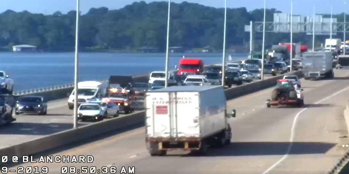 Wreck blocks traffic on Cross Lake Bridge