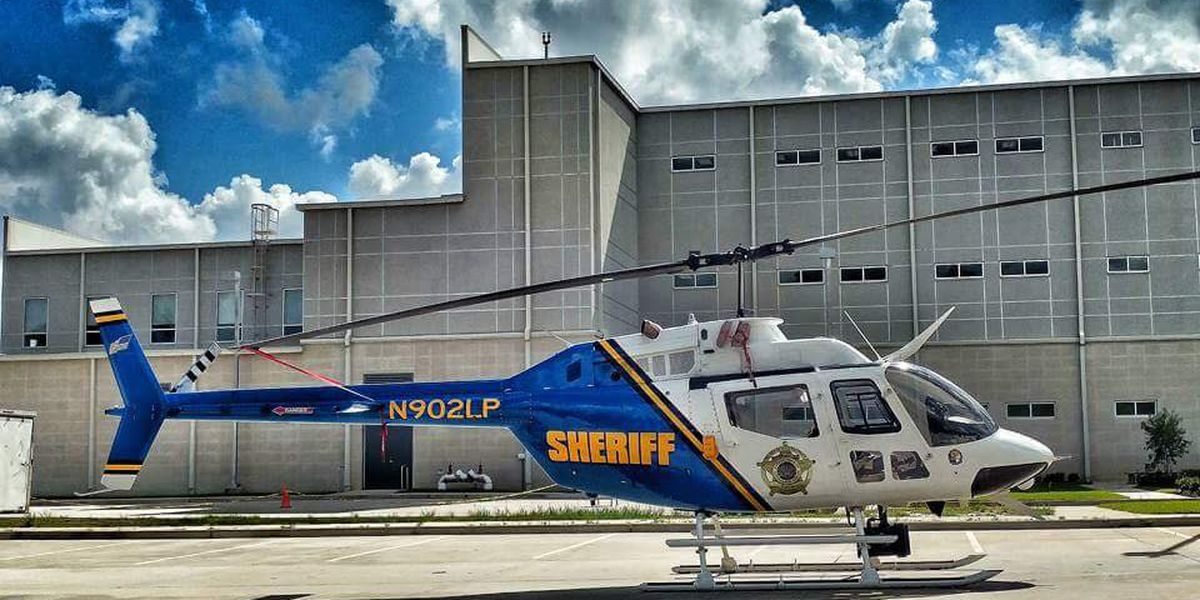 LPSO helicopter rolls before takeoff in St. Helena Parish