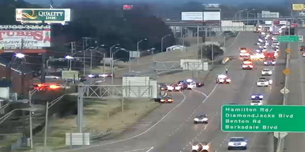 Wreck blocks traffic on I-20 in Bossier City