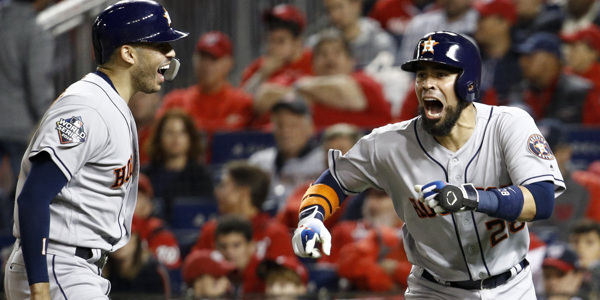 Astros pound Nats 8-1, even World Series 2-2