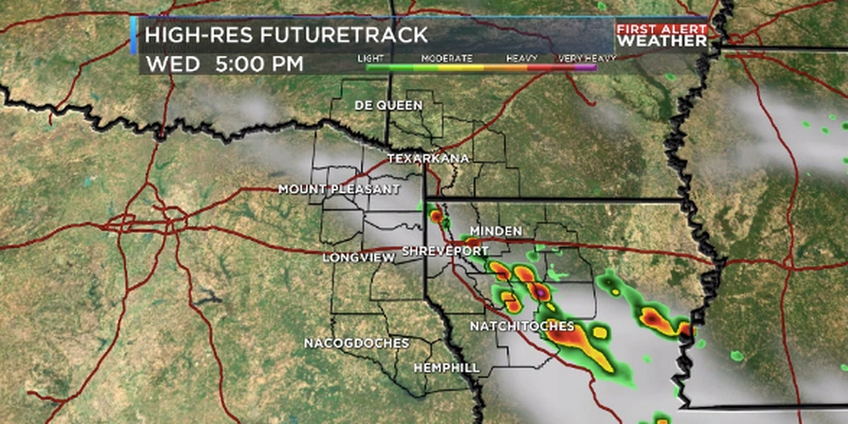 Scattered showers and storms Wednesday