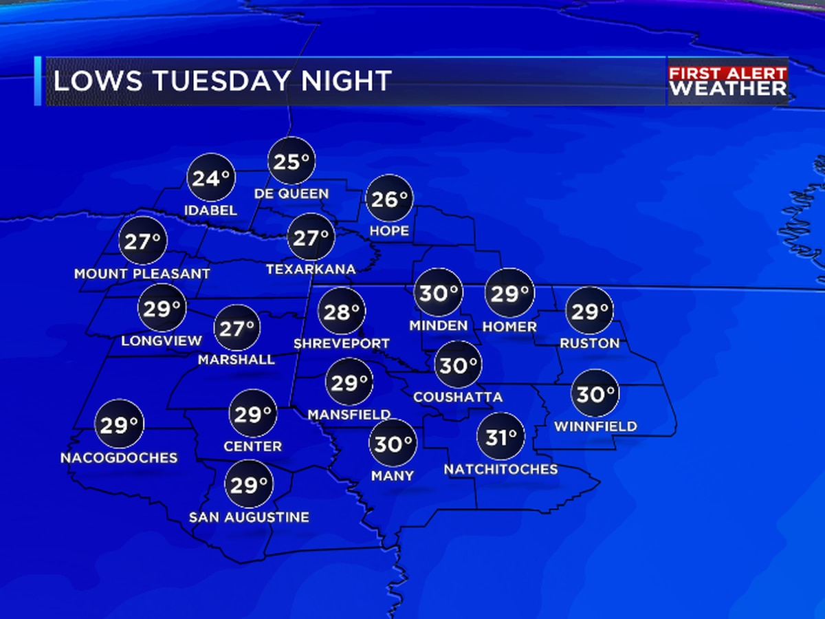 FIRST ALERT: Cold blast brings in first area wide freeze