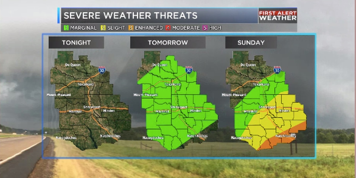 Wet weather possible over the next three days