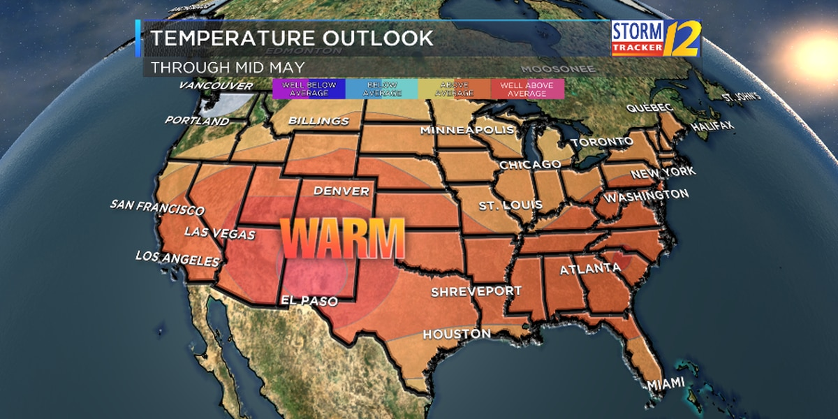 Warmer and drier than average conditions expected through mid-May