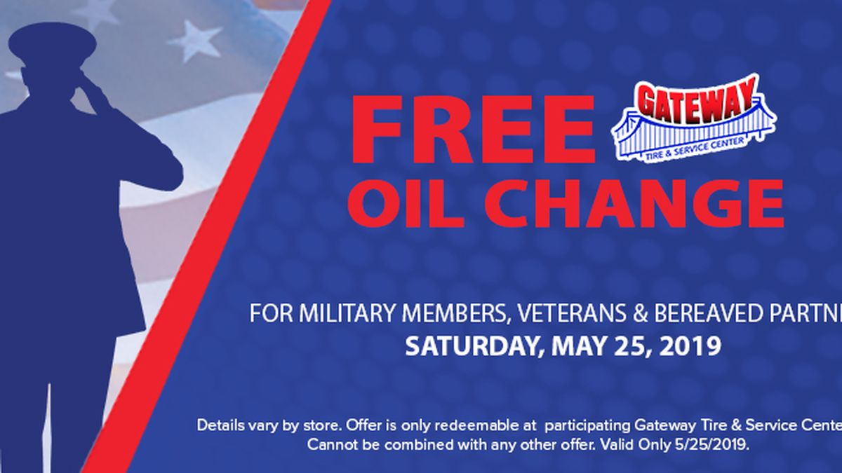Free oil changes for veterans, active military at Gateway Tire & Service Center