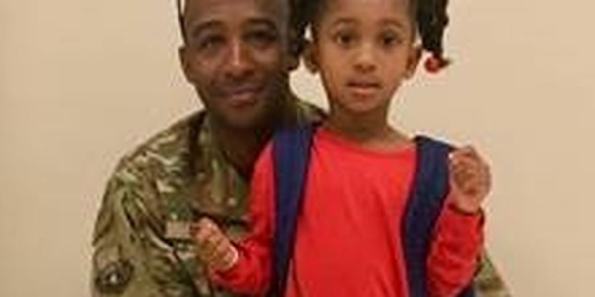 Pre-schooler surprised by military dad home from deployment