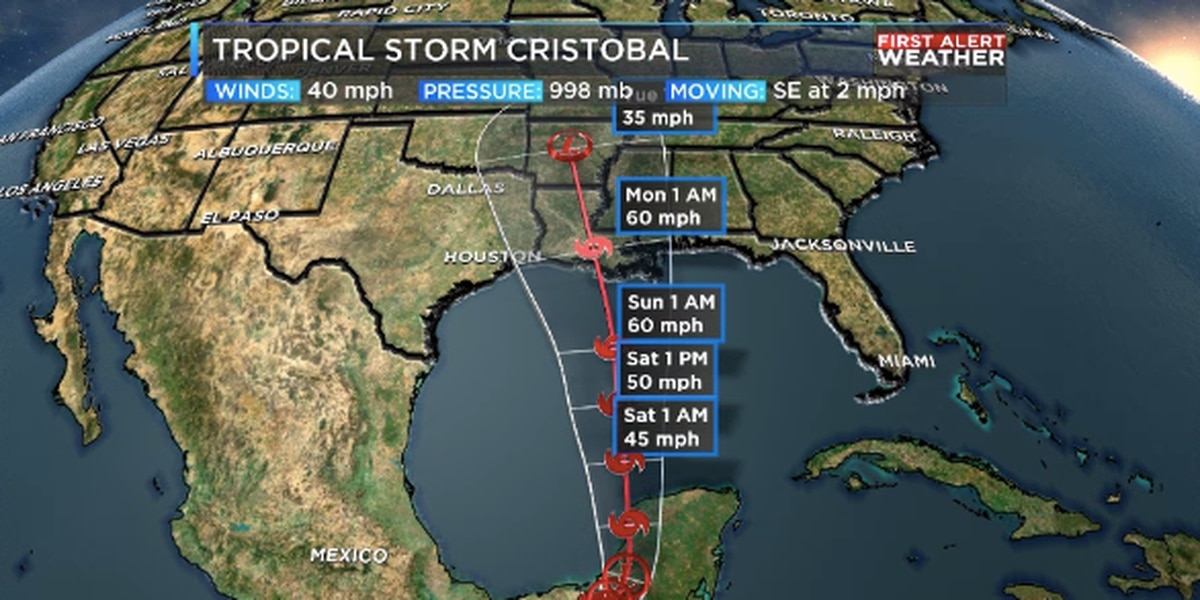 Latest track for Cristobal indicates ArkLaTex impacts