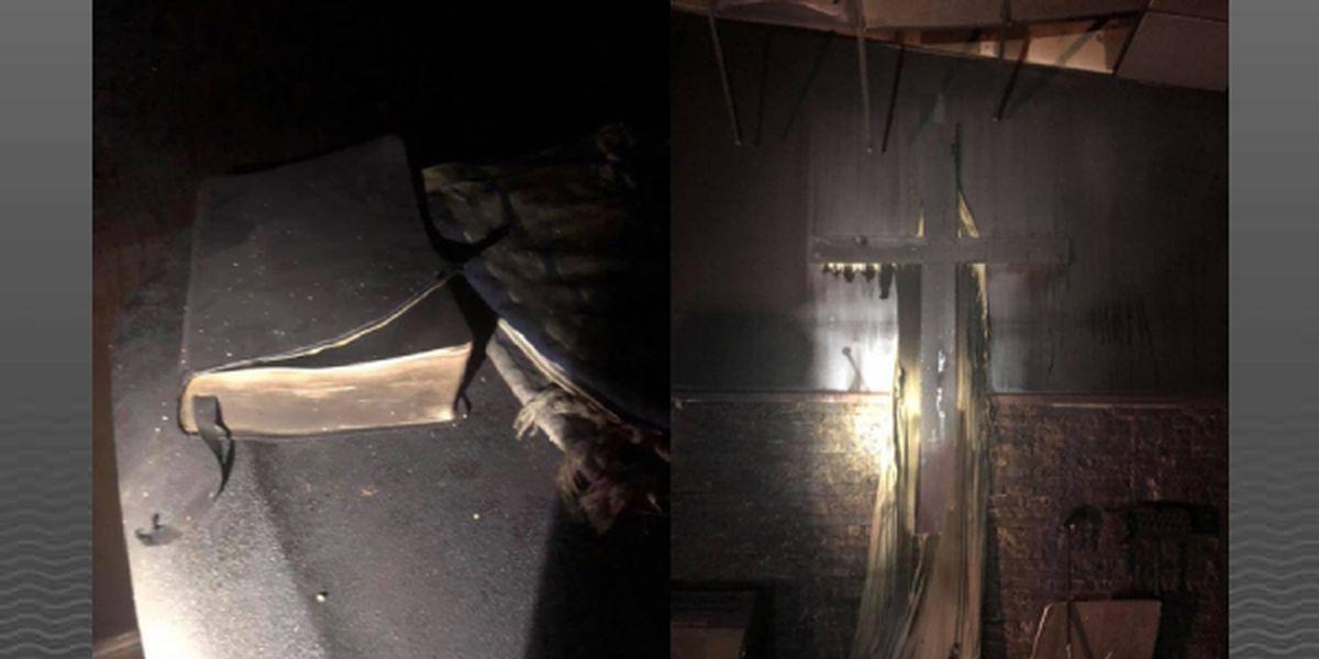 Bibles, crosses left untouched in massive church fire