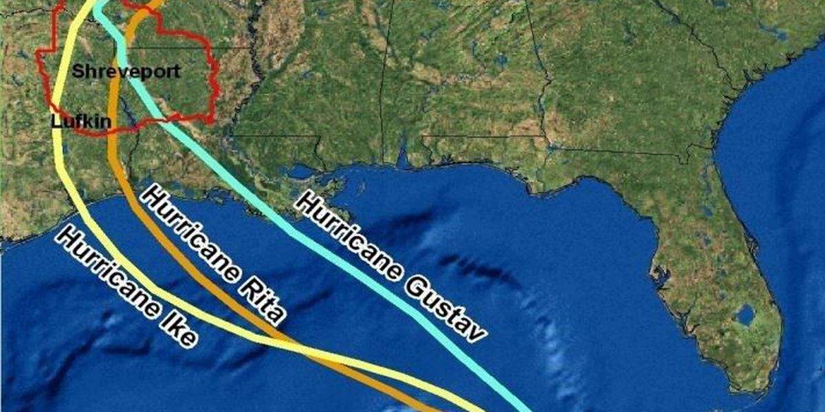 The history of tropical storms in the Arklatex