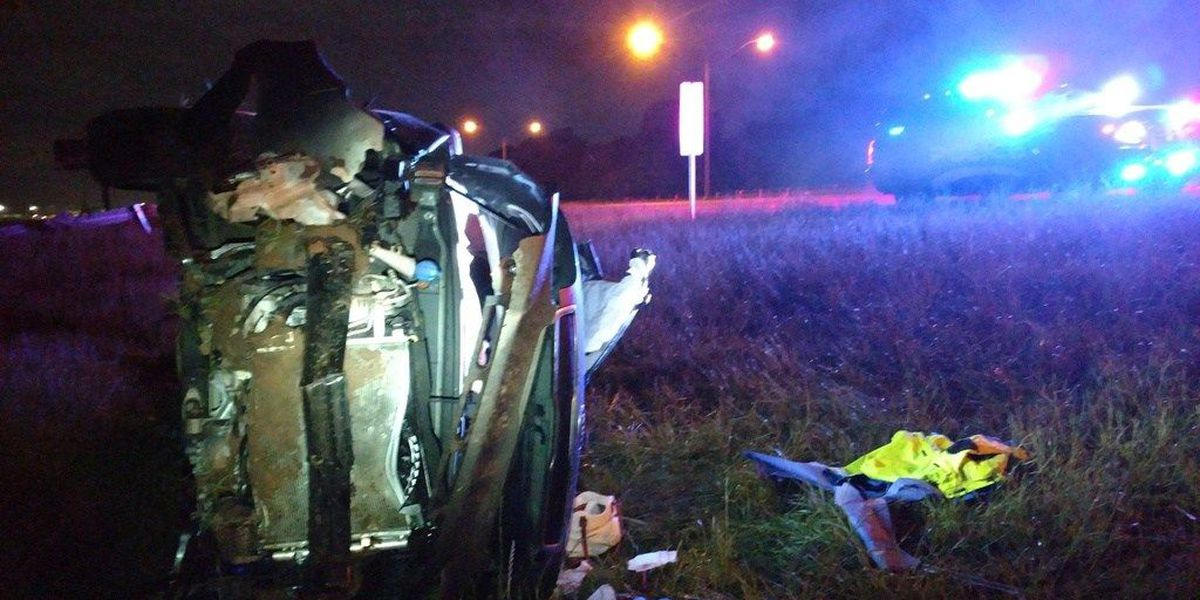 Rollover crash sends 2 to hospital