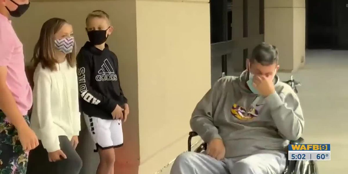 Dad finally gets to embrace kids after being hospitalized for nearly three months with coronavirus