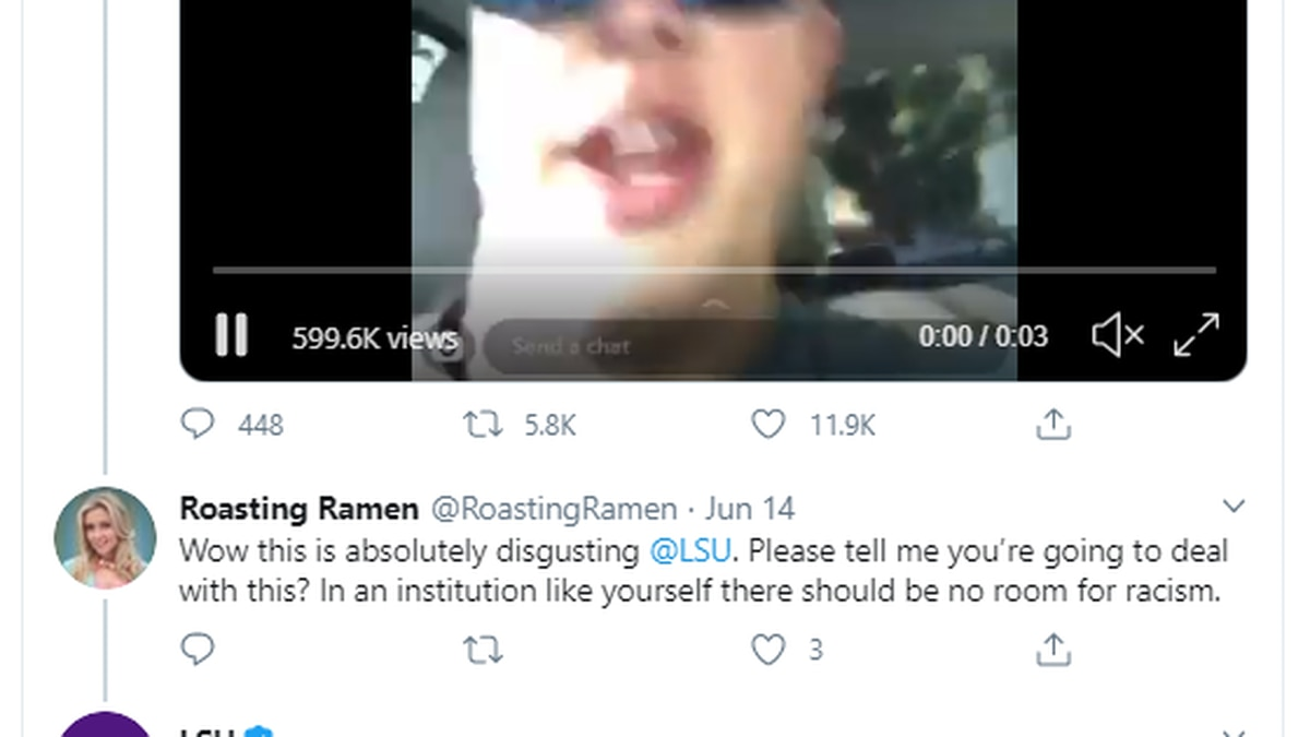 LSU says incoming student who posted video using racial slur will not be enrolled come fall