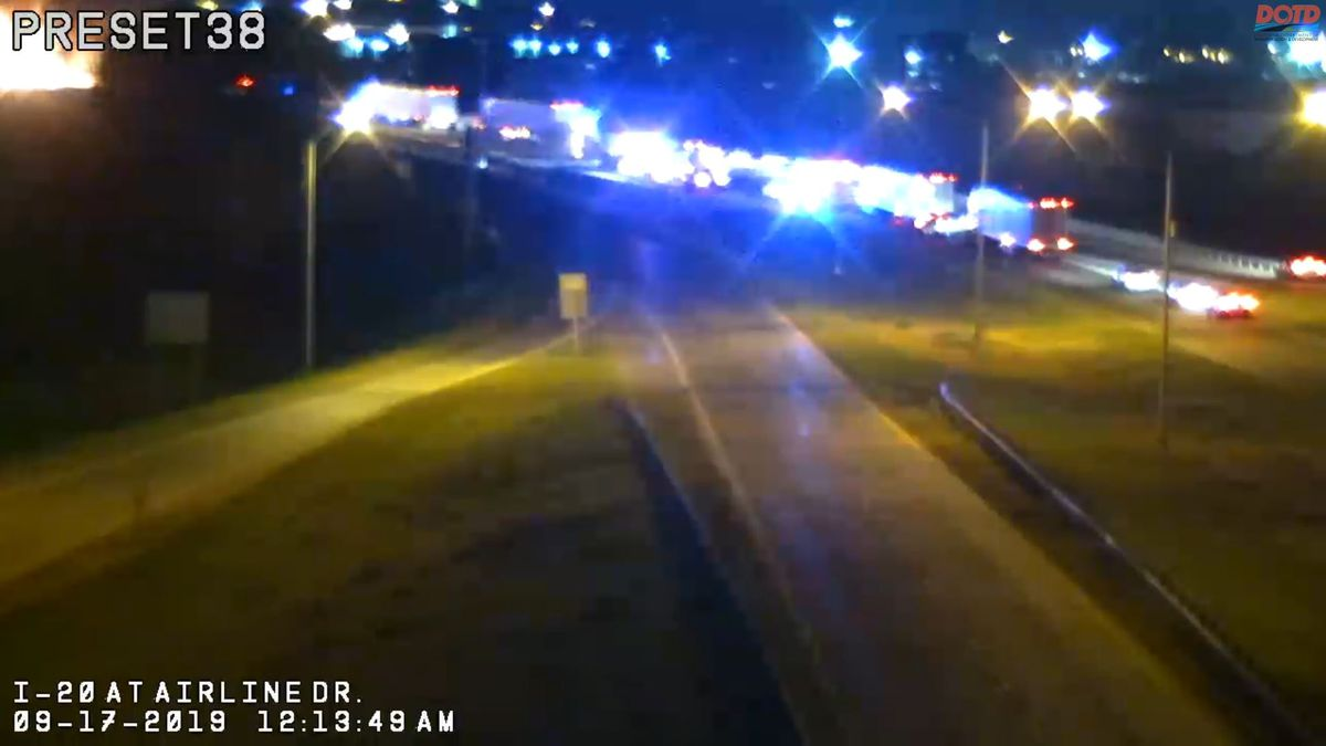 Interstate 20 West in Bossier City closed due to vehicle fire