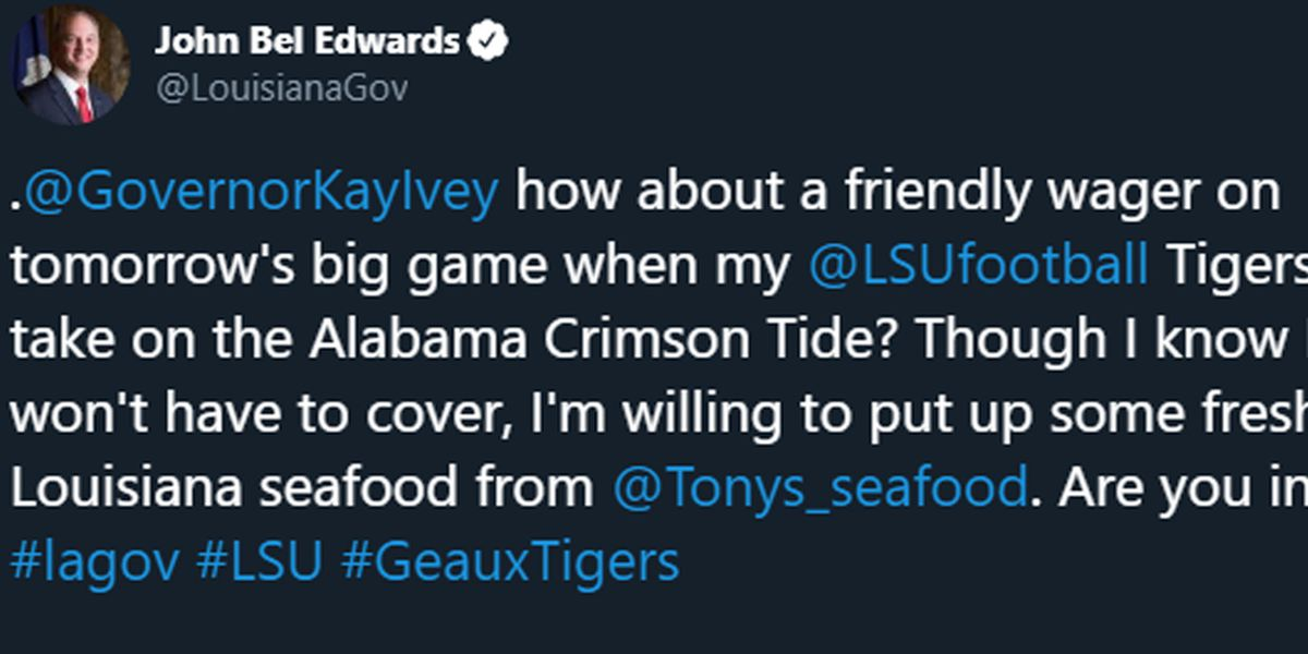 Lousiana Gov. Edwards makes friendly wager ahead of LSU vs. Alabama game