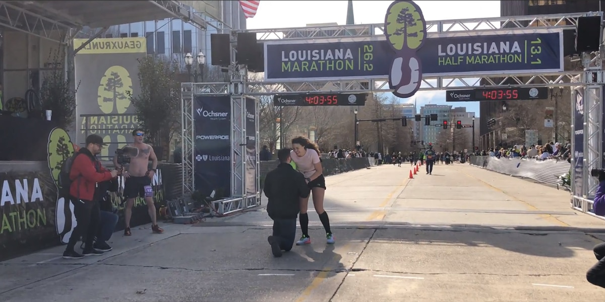 WATCH: Heartwarming proposal at Louisiana Marathon finish line captured on video