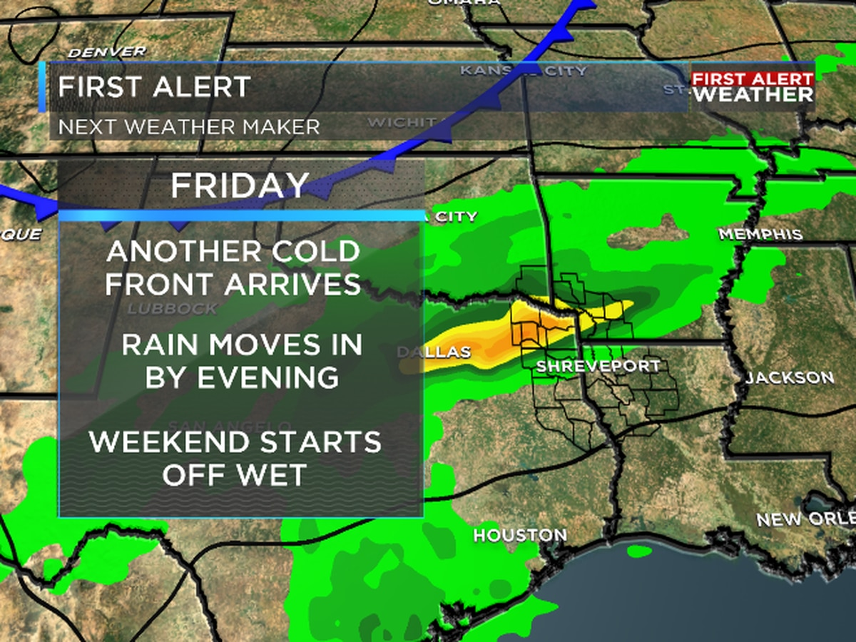FIRST ALERT: Cold front brings in rain late Friday into Saturday