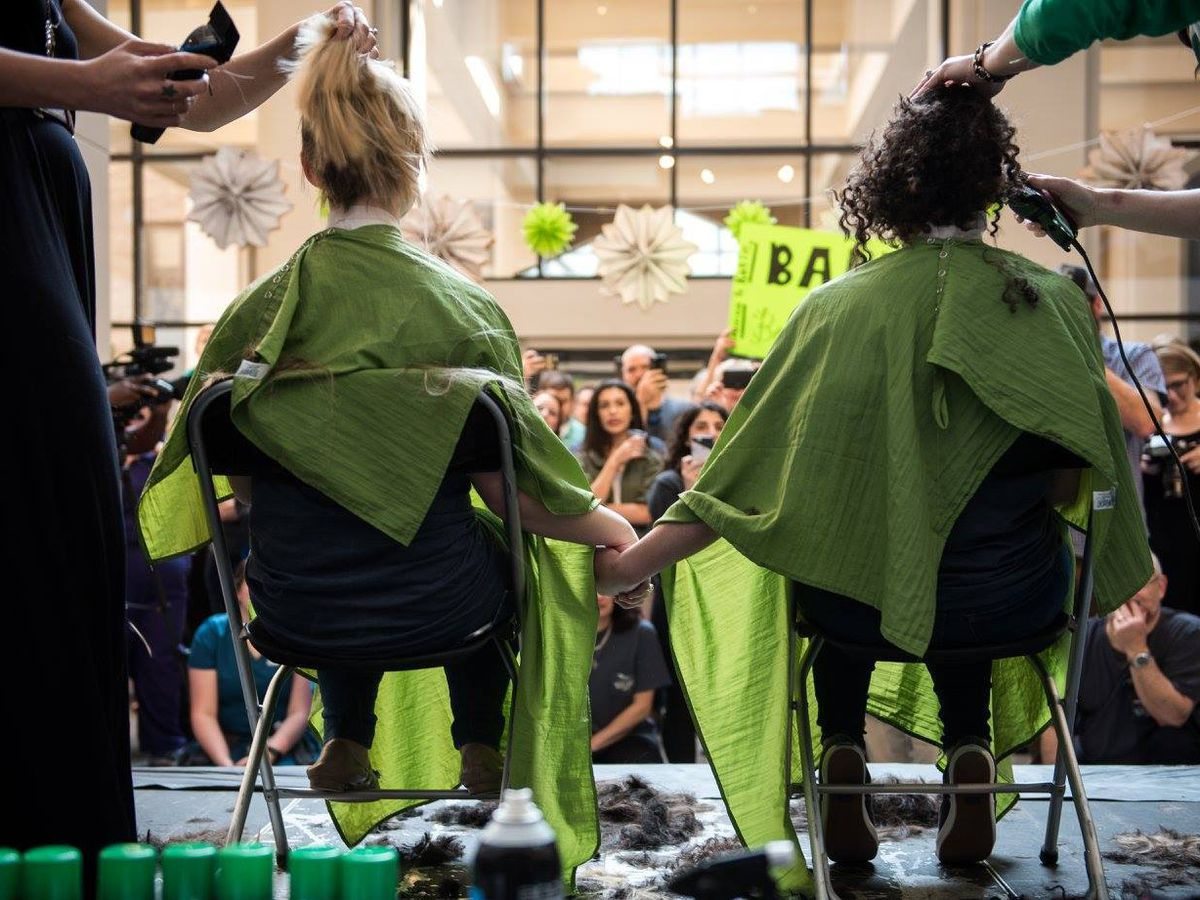 Shreveport medical students shave their heads in support of childhood cancer research