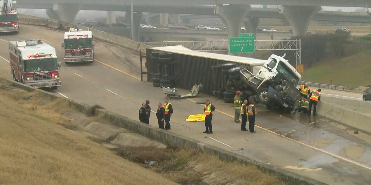 Interstate closed for repair after 18-wheeler accident