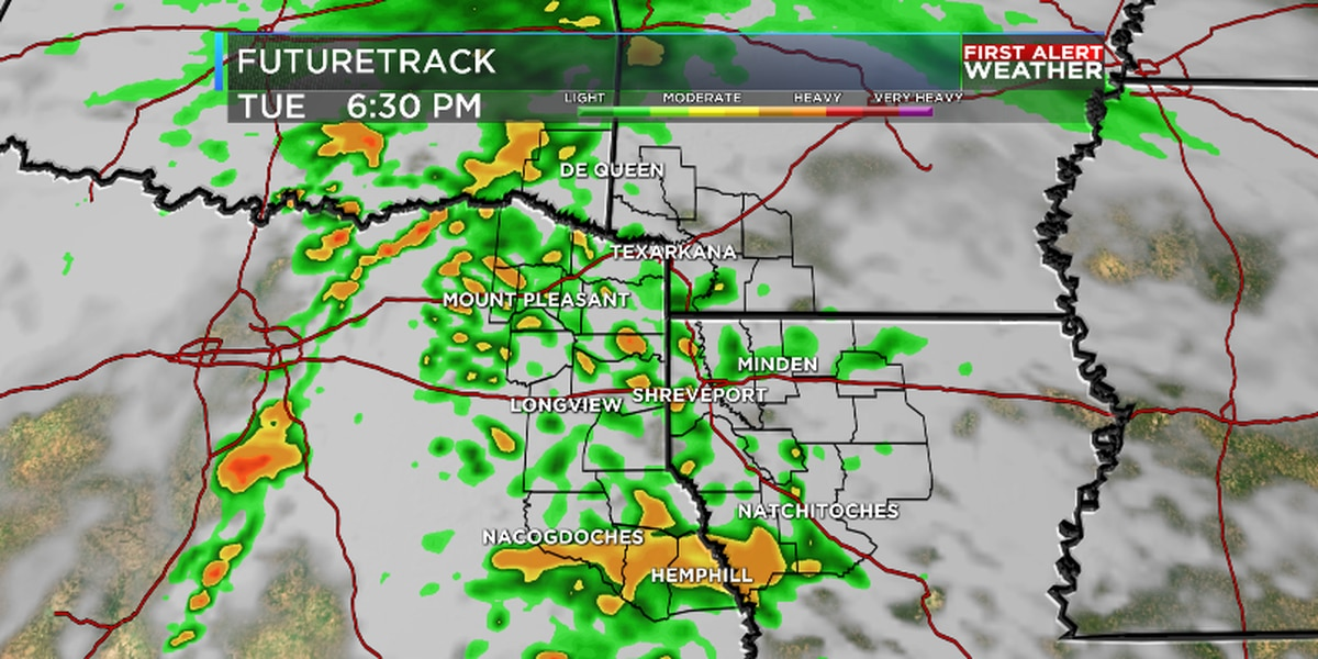 Rain and thunderstorms Tuesday