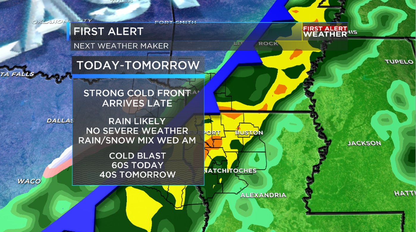FIRST ALERT: Cold front brings in a round of rain, a cold ...