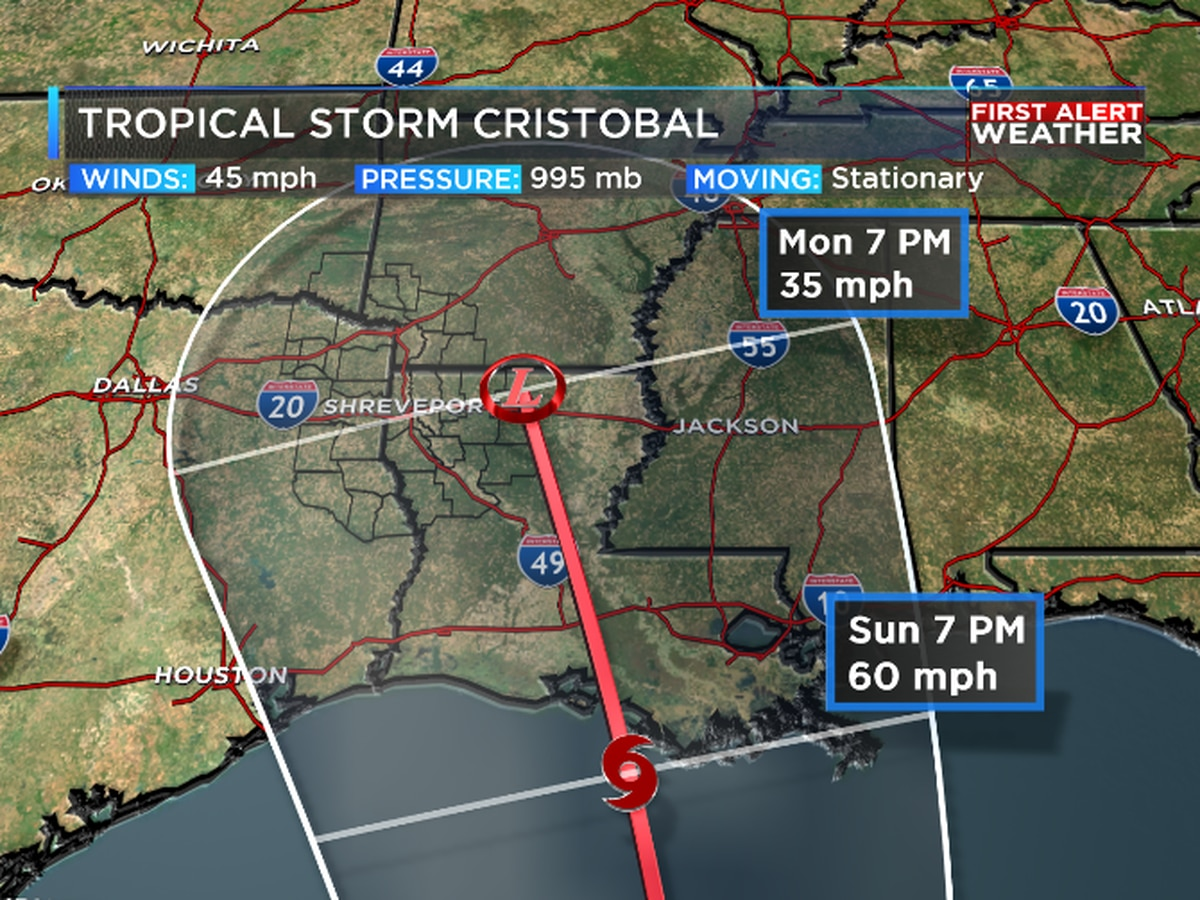 Tracking Tropical Storm Cristobal's possible impacts on the ArkLaTex