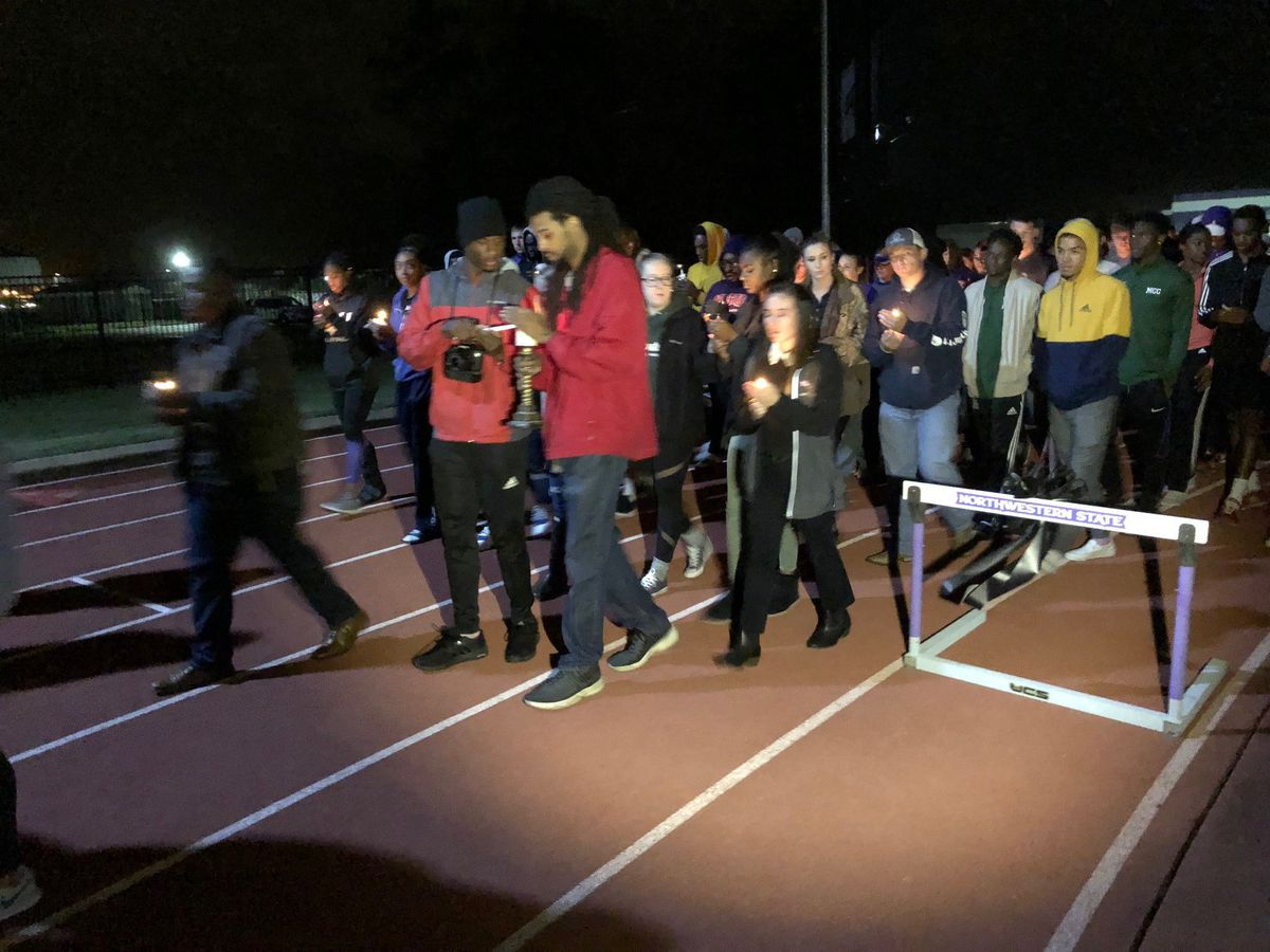 Hundreds take part in vigil for NSU track and field standout