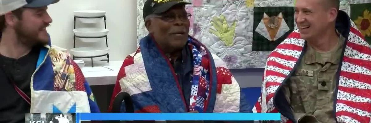 KSLA Salutes: Veterans receive quilts, all wrapped in love, from the Quilt Queens