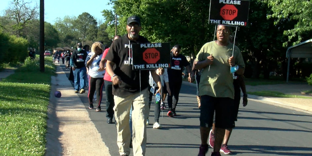 Residents gather for Please Stop the Killing Nation Community Prayer Walk in Bossier City