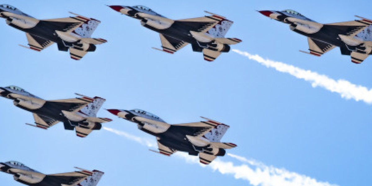 Thunderbirds demo team arriving at BAFB ahead of Defenders of Liberty Air Show
