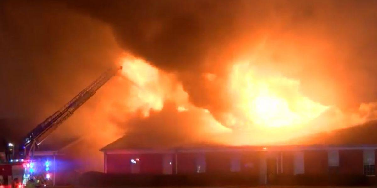 Bossier City megachurch still smoldering after a huge morning fire