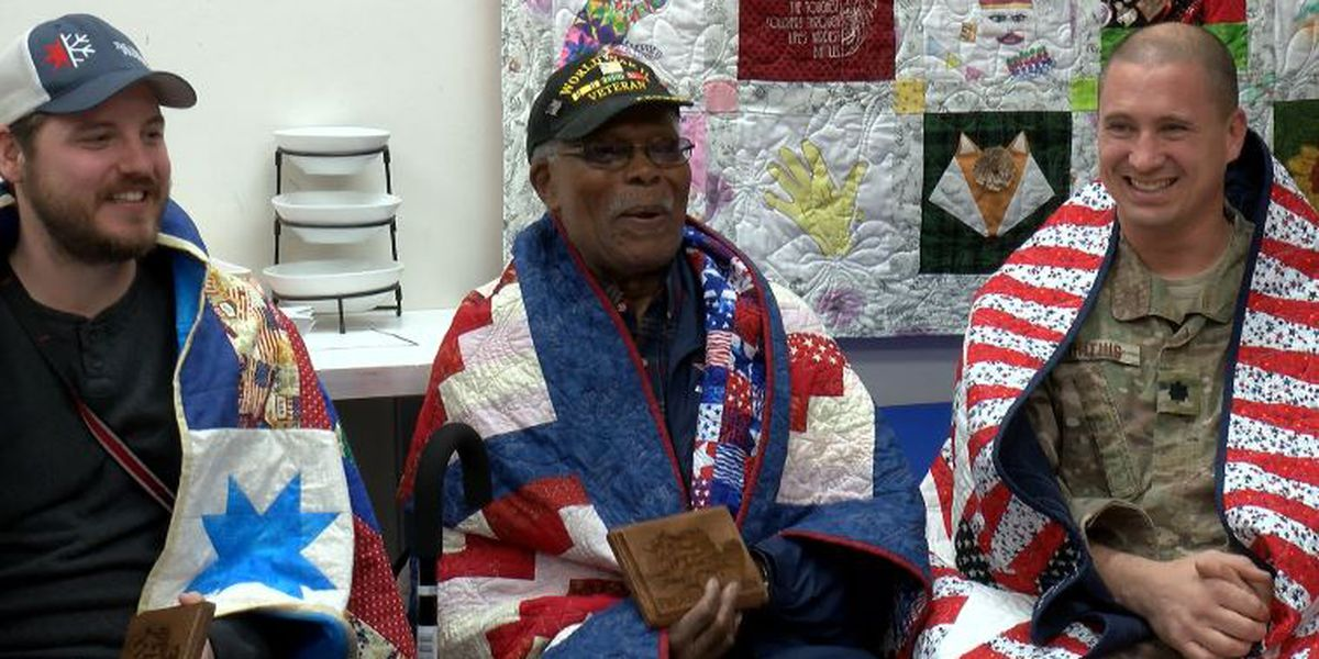 KSLA Salutes: NWLA military servicemen receive 'quilts of love'