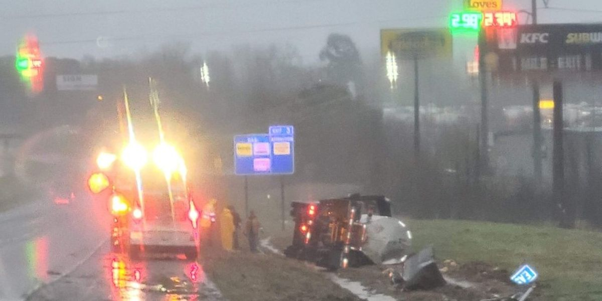 Big rig rolls on side on I-20 east near Greenwood