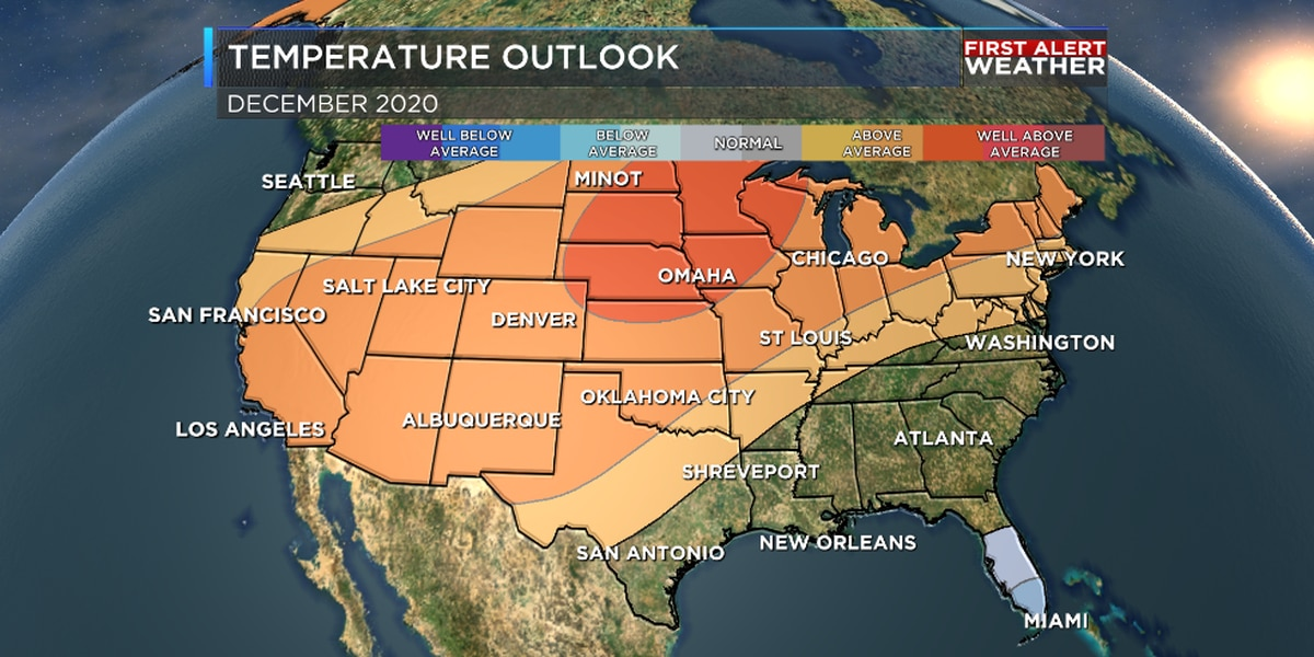December outlook: Drier than average, but not too warm or cold