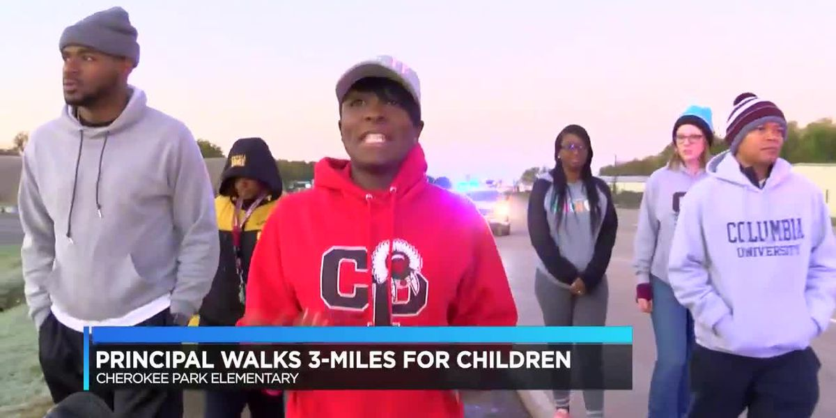 Elementary school principal walks 3 miles for students