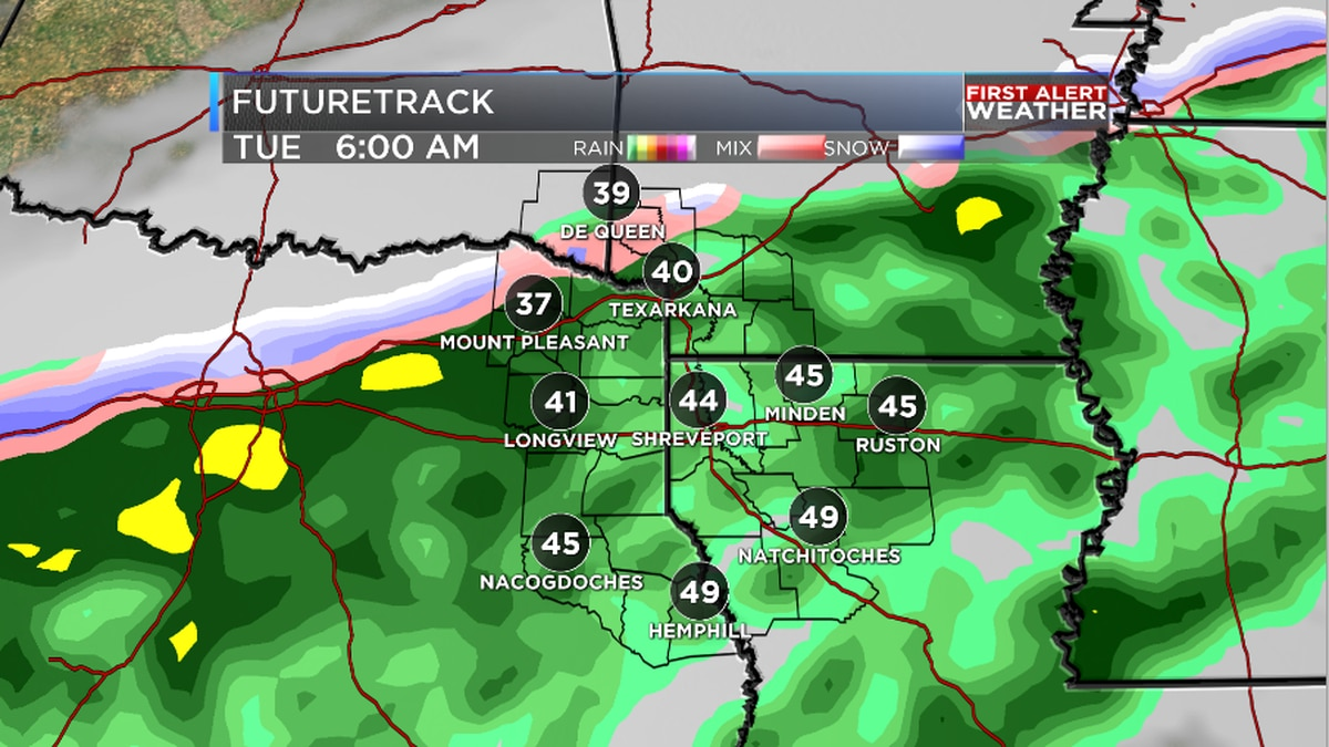 First Alert: Cold, wet and even a few snowflakes Tuesday