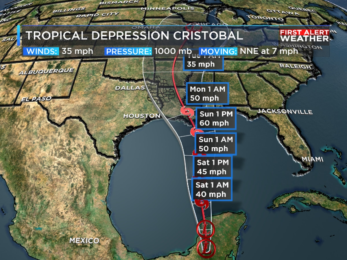 Tracking Cristobal as it remerges in Gulf today