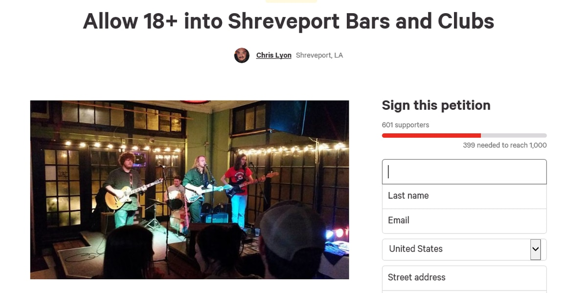 Petition: Lower age to get into Shreveport nightclubs to 18