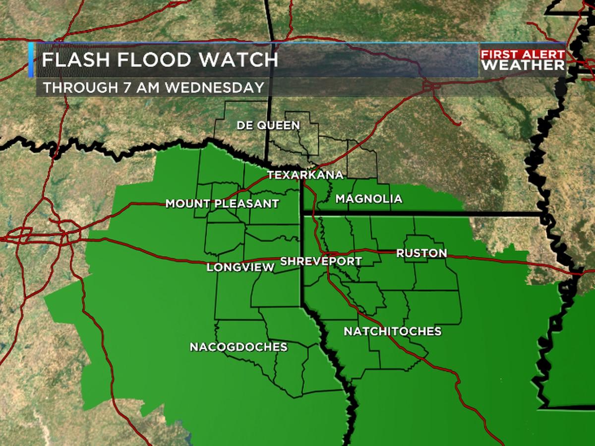 Flash Flood Watches through Wednesday