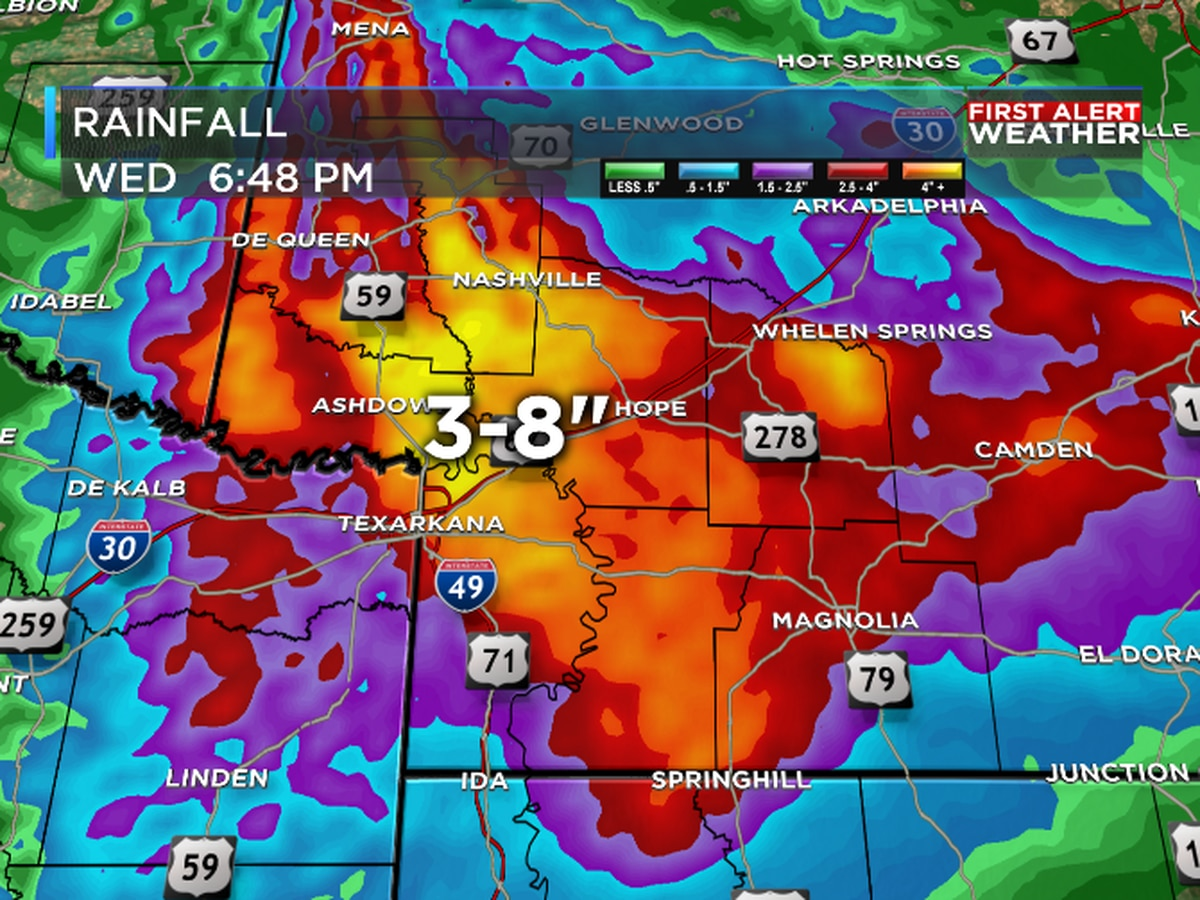 Flooding rains fall around Texarkana, southwest Arkansas this morning