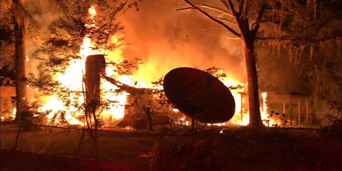 Fire razes house along Black Lake near Campti